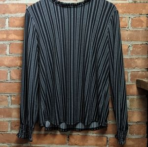 Adrianna Papell Black and White Long Sleeve Blouse